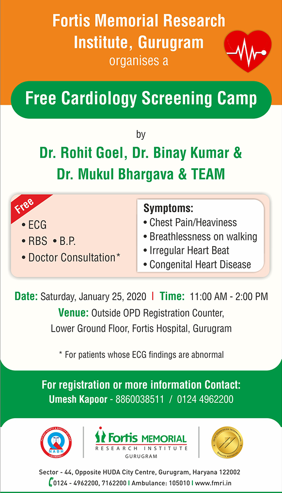 FMRI, Gurugram organises a Free Cardiology Screening Camp